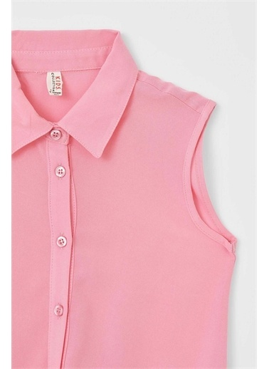 DeFacto Kız Çocuk Bağlama Detaylı Kolsuz Gömlek Pembe